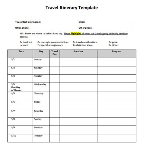 travel vacation trip itinerary template word excel