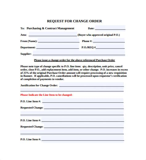 11 Change Order Templates To Download Sle Templates Change Request Template