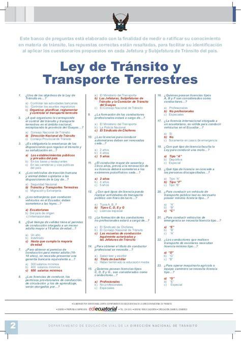 numero de preguntas examen de conducir test licencia de ecuador