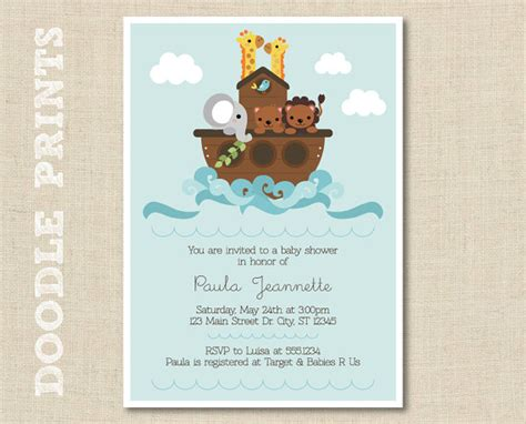 animal cut outs noah s ark birthday party ideas noah s ark invitation printable baby shower by doodleprints