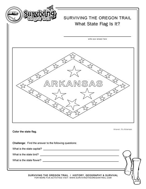 coloring page state flag arkansas printable worksheet