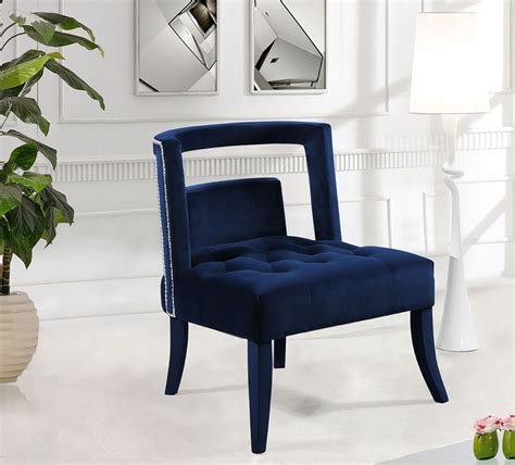 velvet accent chairs tribeca velvet accent chair navy meridian furniture