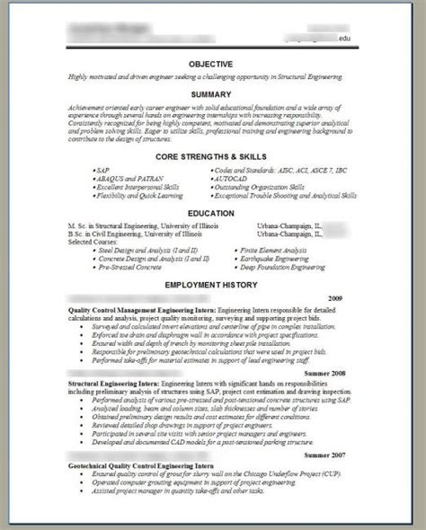 Structural Engineering Resume Template by Structural Engineer Resume Resume Template