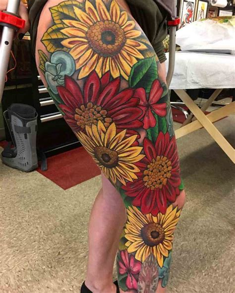 full leg sleeve tattoo flowers best tattoo ideas gallery
