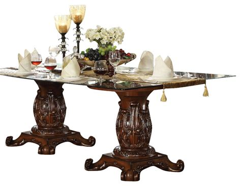 Traditional Glass Dining Table Acme Vendome Pedestal Dining Table With Glass Table Top Cherry Traditional Dining