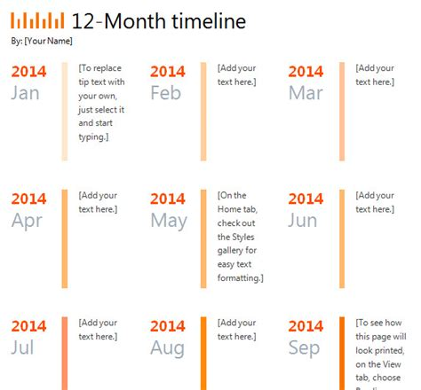 12 month timeline template 187 template haven