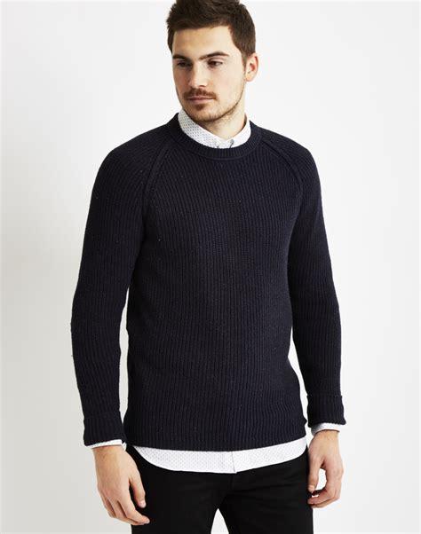 Navy Sweatshirt Sweater only sons mens knitted crew neck sweatshirt navy in blue