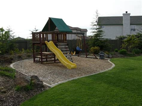 swing set area ideas mow strip around swingset this is what i have been
