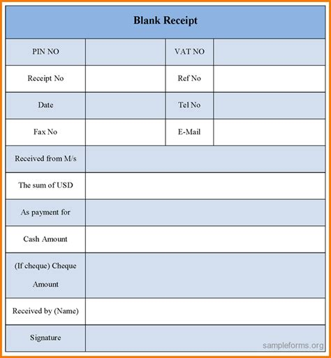 7 blank receipt template expense report