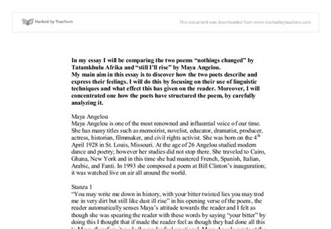 Nothings Changed Poem Essay by Essay On Angelou Docoments Ojazlink