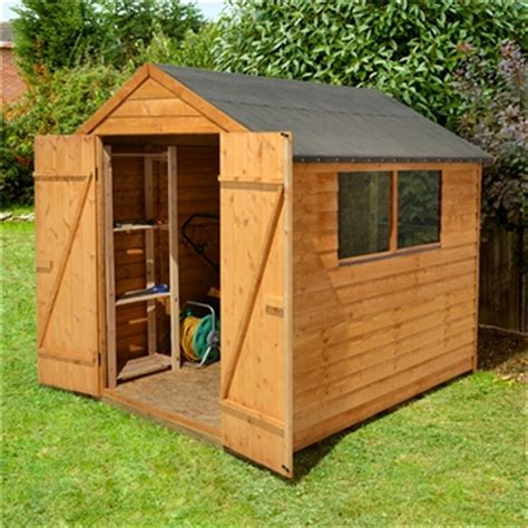 8 x 6 overlap apex wooden garden shed with 2 windows and doors shedsfirst