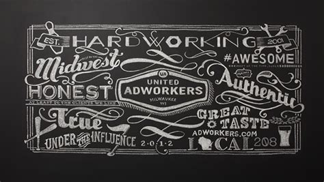 typography served united adworkers membership card chalk on typography