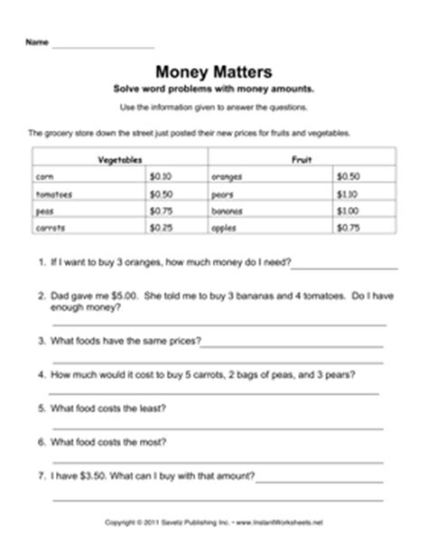 Money Word Problems Worksheets by Money Word Problems 2nd Grade Search Results Calendar 2015