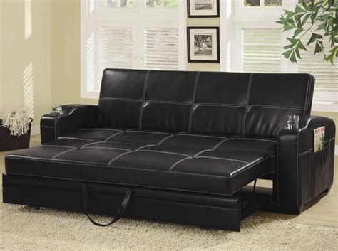 Black Sofa Bed Black Faux Leather Sofa Bed With White Stitching Convertible Sofa Beds