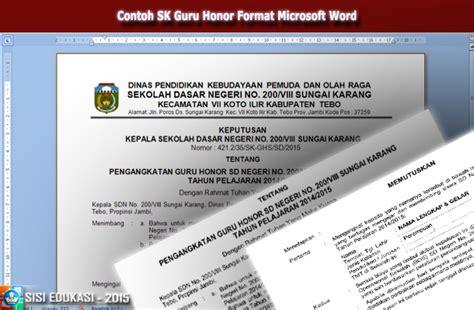 contoh format surat keputusan pengangkatan guru honorer