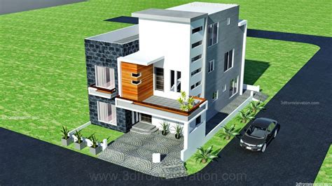 house map design 3d front elevation com 10 marla modern architecture house plan corner plot design