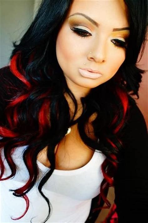 black women hairstyles streaks black hair with red streaks hair makeup colorful hair