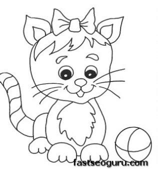 coloring page kittens playing printable cute kitten playing with ball coloring pages