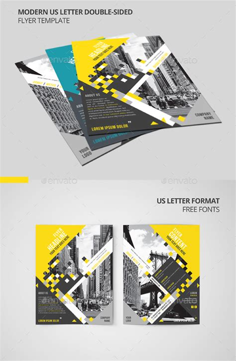 two sided brochure template modern us letter sided flyer template by