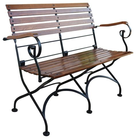 outdoor folding bench seat french cafe bistro 2 seat folding bench black frame