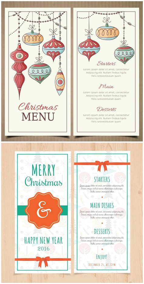 templates menu photoshop christmas and new year menu templates with retro baubles
