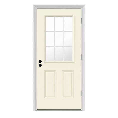 Jeld Wen 32 In X 80 In 9 Lite Vanilla Painted Steel Outswing Front Door