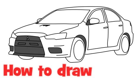 mitsubishi evo drawing how to draw a car mitsubishi lancer evolution 2015 evo x