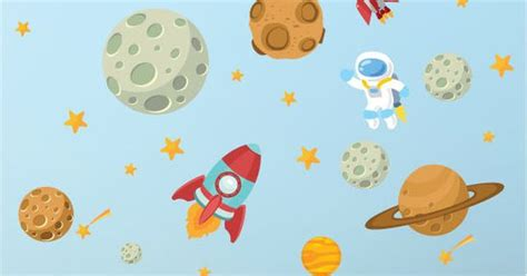 Moon And Stars Wall Stickers space astronaut stars planets nursery kids bedroom vinyl