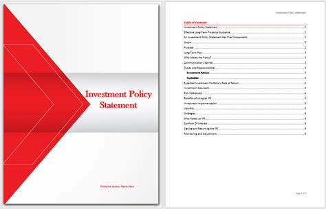 investment policy statement template microsoft word
