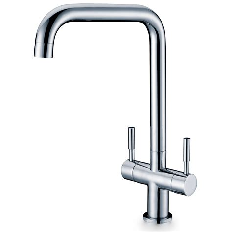 mixer taps for kitchen sink modern contemporary square swivel spout twin lever kitchen