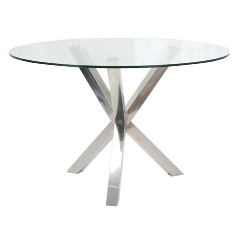 47 glass table top redondo 47 glass top dining table w polished steel