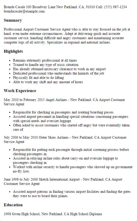 Airport Passenger Service Sle Resume by Professional Airport Customer Service Templates To Showcase Your Talent Myperfectresume