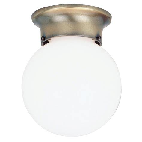 Globe Ceiling Light Fixture Westinghouse 1 Light Ceiling Fixture Antique Brass Interior Flush Mount With White Glass Globe