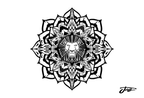 lion king lotus mandala tattoo design by divinecomics on
