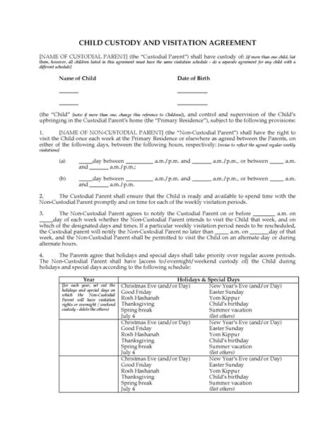 custody agreement template usa child custody and visitation agreement between parents