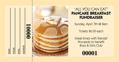 pancake breakfast ticket template pancake breakfast raffle tickets