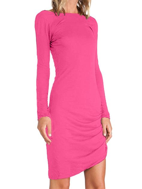Sleeve Asymmetric Hem Dress professionals top5 best selling day pink ruched