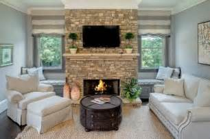 fireplace between two windows for the home
