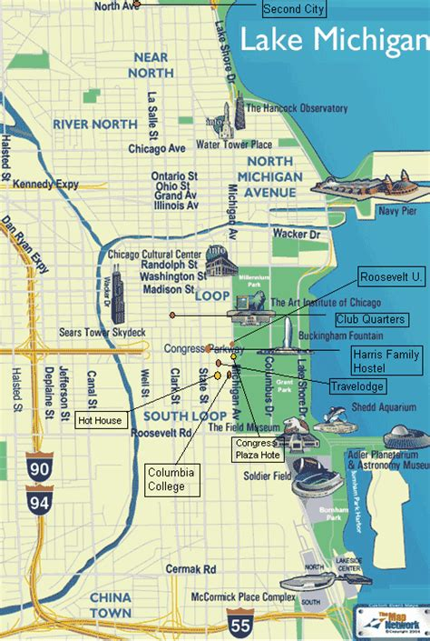 chicago map attractions chicago map with attractions