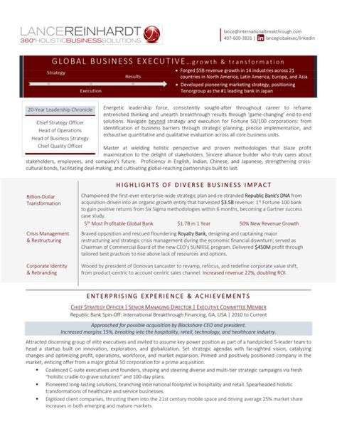 chief strategy officer premium executive resume writing