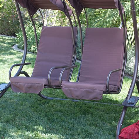New outdoor swing set 2 person patio frame padded seat furniture double w canopy ebay