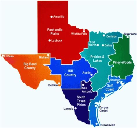 4 regions of texas map the regions of texas