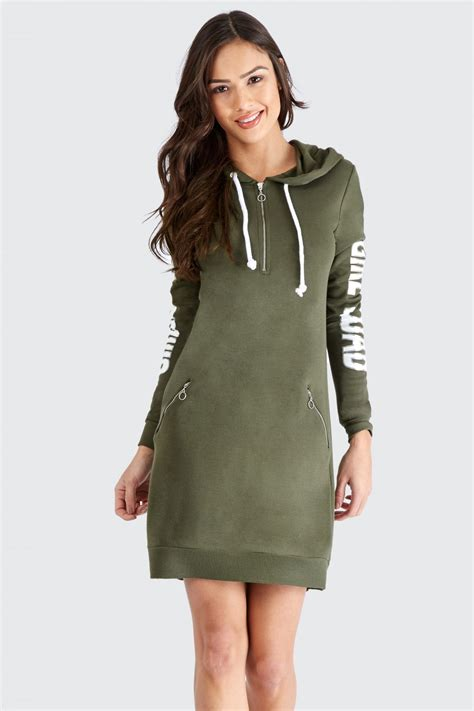 Dress Hodie zip front slogan hoodie dress s hoodie dresses