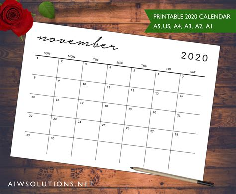 printable simple  elegant calendar