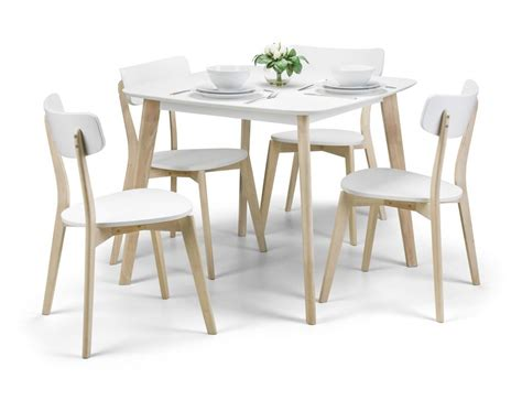 White Wooden Dining Table And Chairs Julian Bowen Casa White And Wood Dining Table 4 Casa Chairs Morale Home Furnishings