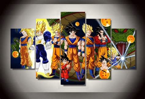 painting goku 5 panel framed goku z canvas painting