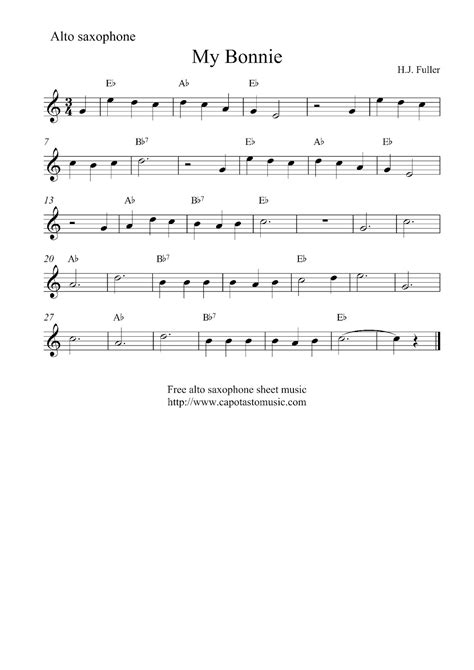 free printable sheet music alto sax free easy alto saxophone sheet music my bonnie