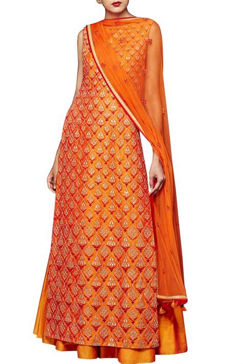simple plazo suit orange silk suit with sharara by anita dongre indian