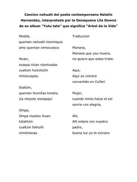 poemas en nahuatl y su traduccion cancion nahuatl del poeta no natalio hernandez