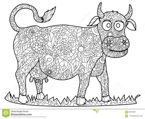cow adults coloring books stress relief coloring book for grown ups books cow coloring vector for adults stock vector image 68760467